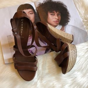 Casadei Brown Leather Peep Toe Rattan Heels 9B